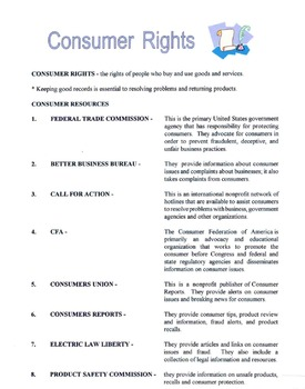 Types Of Consumer Resources & Rights Lesson
