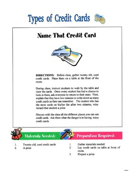 Types Of Credit Cards Lesson