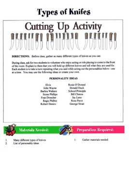 Types Of Knifes Game / Activity