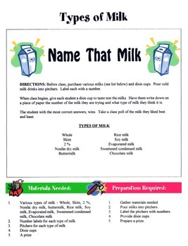 Types Of Milk Game / Activity