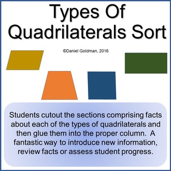 Types Of Quadrilaterals Cut, Sort and Paste Activity - Math