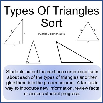 Types Of Triangles Cut, Sort and Paste Activity - Math Grades 3-6