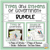 Types & Systems of Government BUNDLE