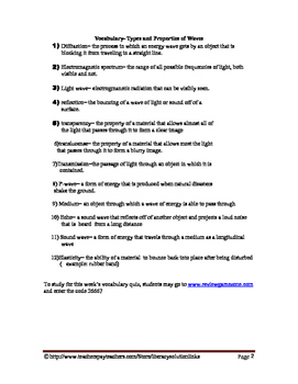 Types and Properties of Waves Vocabulary Quiz Worksheet