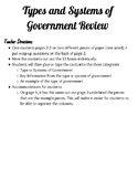 Types and Systems of Government Review SS.7.C.3.1 and SS.7.C.3.2