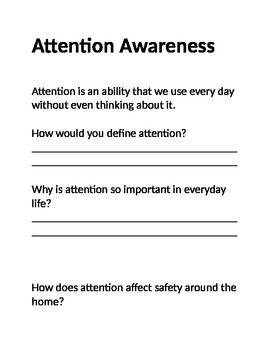 Types attention journal worksheet adults safety awareness geriatrics functional