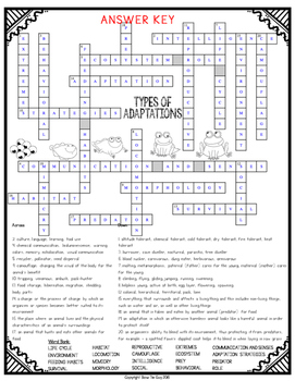 Types of Adaptations Crossword