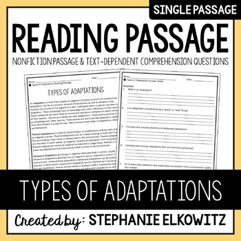 Types of Adaptations Reading Passage