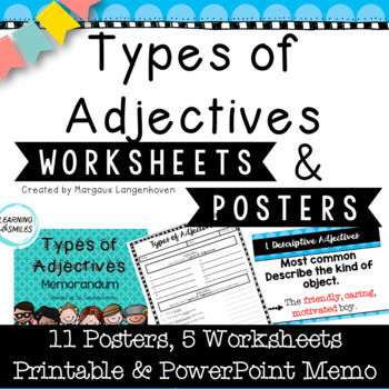 Types of Adjectives Posters and Worksheets