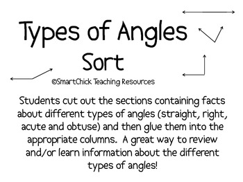 Types of Angles: A Math Sort Activity