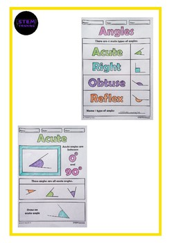 Types of Angles, Classifying Angles  Math Color and Learn Activity