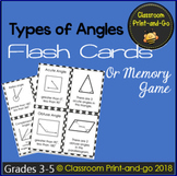 Types of Angles Flash Cards or Memory Game
