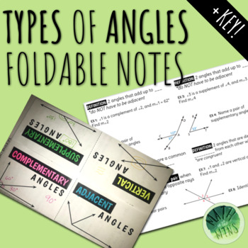 Types of Angles Foldable Notes