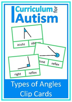 Naming Types of Angles Geometry Clip Cards, Math, Autism,