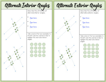 Lines Cut by a Transversal - Interactive Notes and Worksheet