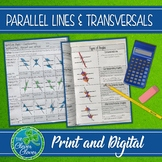 Parallel Lines, Transversals & Angles - Notes and Worksheet - Print and Digital
