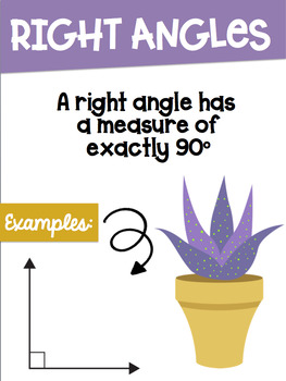 Types of Angles Math Posters with a Cactus Succulent Theme