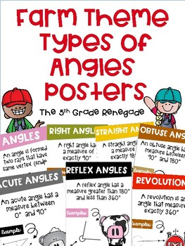 Types of Angles Math Posters with a Farm Theme