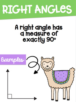 Types of Angles Math Posters with a Llama Alpaca Theme