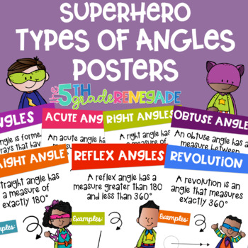 Types of Angles Math Posters with a Superhero Theme