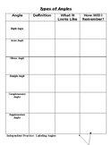Types of Angles Notes, IP, Exit Ticket, and Mixed Review HW