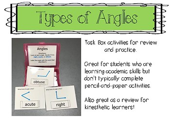 Types of Angles Task Box Activity