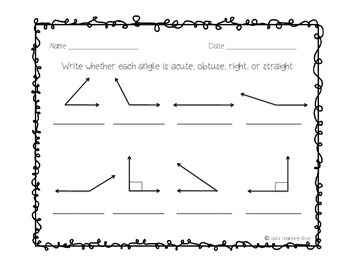Types of Angles Visual Aid and Practice Worksheet