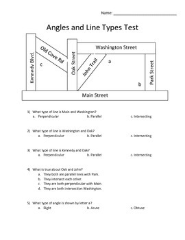 Types of Angles and Lines Test