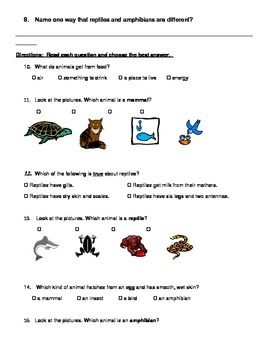 Types of Animals - South Carolina Science Standards
