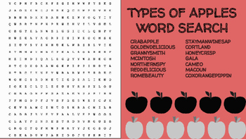 Types of Apples Word Search; FACS Culinary Bellringer Appl