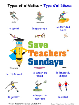 Types of Athletics in French Worksheets, Games, Activities and Flash Cards