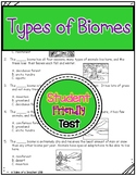 Types of Biomes Test