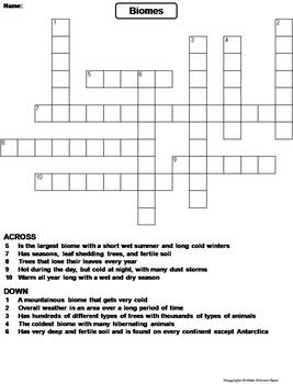 World Biomes Worksheet/ Crossword Puzzle