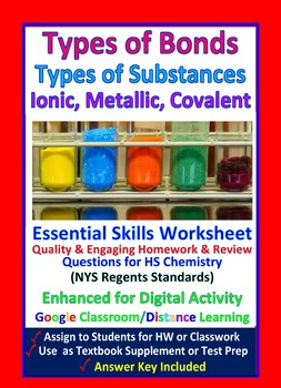 Types of Bonds: Ionic, Covalent, Metallic - Worksheets & Practice Questions