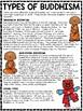 Types of Buddhism Reading Comprehension Worksheet Buddhist