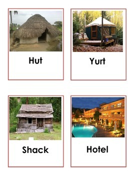 Types of Buildings Word Cards