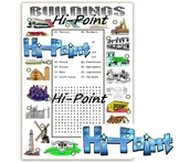 Types of Buildings Worksheet (Match to the picture and a wordsearch)