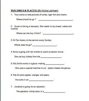 Types of Buildings and Places  Worksheet