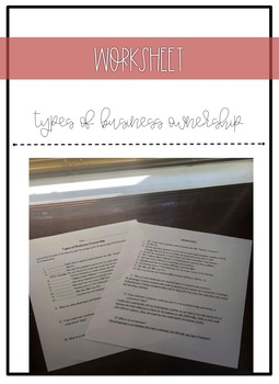 Types of Business Ownership Worksheet