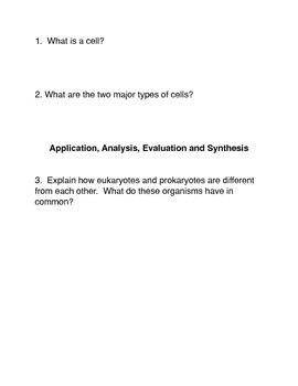Types of Cells Common Core activities