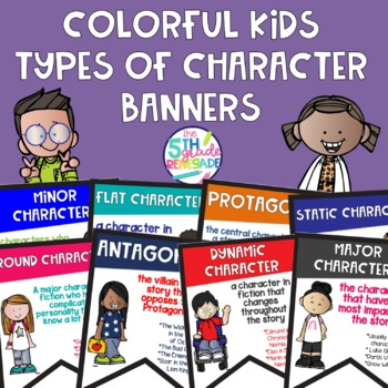 Types of Character Banners Combo Pack with Colorful Cute Kids and Black & White