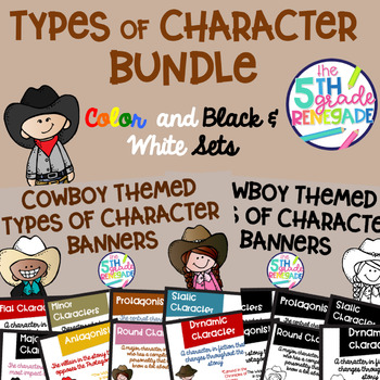 Types of Character Banners Cowboy Theme Color and Black & White Sets
