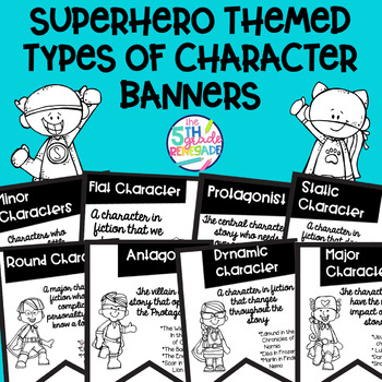 Types of Character Banners Superhero Theme ~Black & White~ For Easy Printing