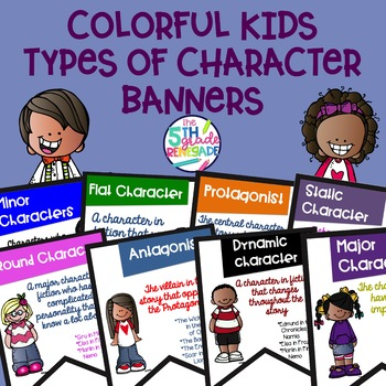 Types of Character Banners with Colorful Cute Kids