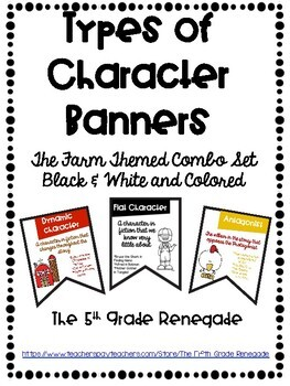 Types of Character Banners with Farm Theme Color and Black & White Sets