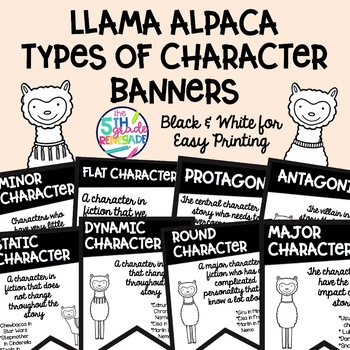 Types of Character Banners with Llama Theme ~Black & White~ For Easy Printing