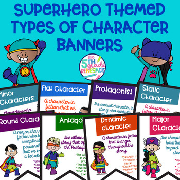 Types of Character Banners with Superhero Theme Color and Black & White