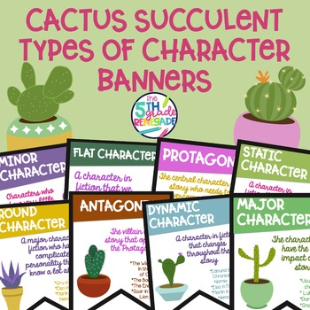Types of Character Banners in Color with a *Cactus Succulent* Theme