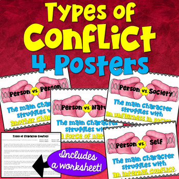 Types Of Character Conflict Posters And Worksheet By Deb Hanson Tpt