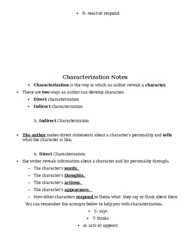 Types of Character Notes